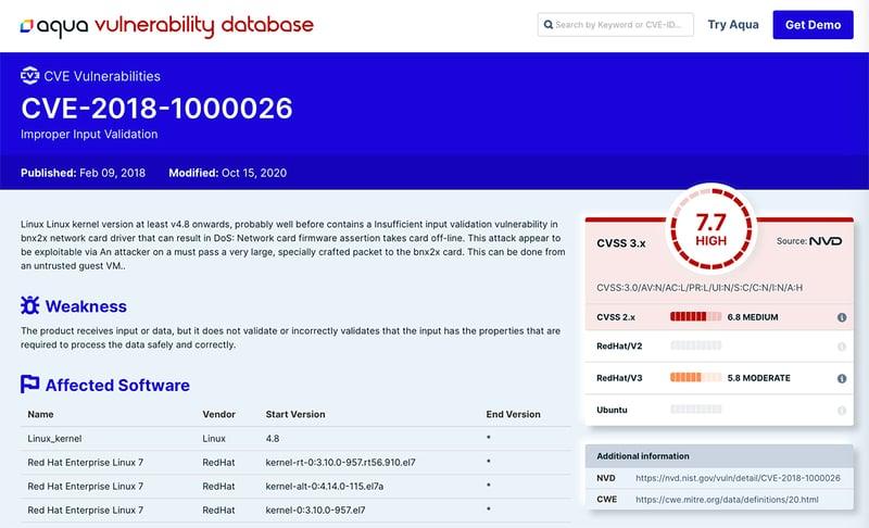 Aqua Vulnerability Database