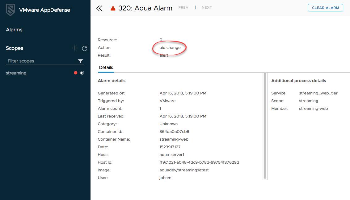 AppDefense Alarm Details